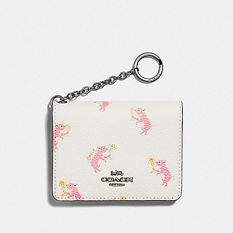 COACH F38946 KEY RING CARD CASE WITH PARTY PIG PRINT SV/CHALK