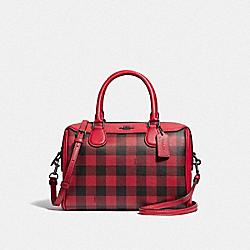COACH F38948 - MINI BENNETT SATCHEL WITH GINGHAM PRINT RUBY MULTI/BLACK ANTIQUE NICKEL