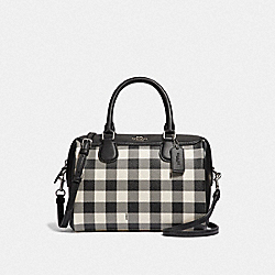 COACH F38948 Mini Bennett Satchel With Gingham Print BLACK/MULTI/SILVER