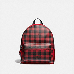 MEDIUM CHARLIE BACKPACK WITH GINGHAM PRINT - F38949 - RUBY MULTI/BLACK ANTIQUE NICKEL