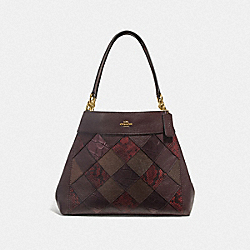 COACH F38959 - LEXY SHOULDER BAG WITH PATCHWORK OXBLOOD MULTI/LIGHT GOLD