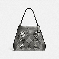 LEXY SHOULDER BAG WITH PATCHWORK - F38959 - GUNMETAL MULTI/SILVER