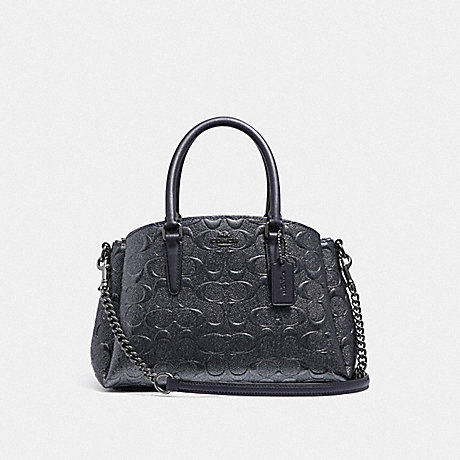COACH F38961 MINI SAGE CARRYALL IN SIGNATURE LEATHER CHARCOAL/BLACK-ANTIQUE-NICKEL