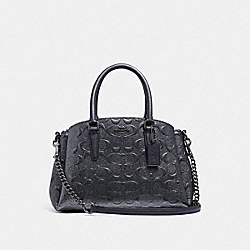 COACH F38961 - MINI SAGE CARRYALL IN SIGNATURE LEATHER CHARCOAL/BLACK ANTIQUE NICKEL