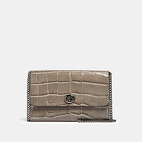 COACH F38969 MARLOW TURNLOCK CHAIN CROSSBODY GM/HEATHER-GREY