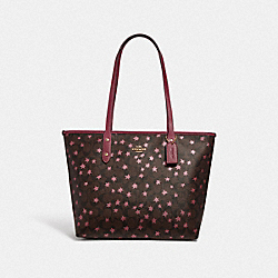 COACH F38984 - CITY ZIP TOTE IN SIGNATURE CANVAS WITH POP STAR PRINT BROWN MULTI/LIGHT GOLD