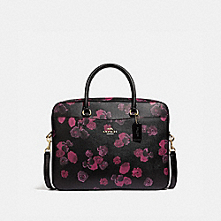 COACH F38985 Laptop Bag With Halftone Floral Print BLACK/WINE/LIGHT GOLD