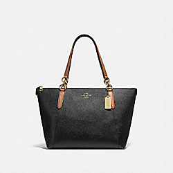 AVA TOTE - F38988 - BLACK/SADDLE/LIGHT GOLD