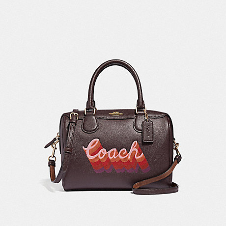 COACH F38996 MINI BENNETT SATCHEL WITH NEON COACH SCRIPT OXBLOOD MULTI/LIGHT GOLD