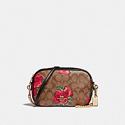 ISLA CHAIN CROSSBODY IN SIGNATURE CANVAS WITH JUMBO FLORAL PRINT - F38997 - KHAKI/OXBLOOD MULTI/LIGHT GOLD