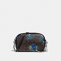 ISLA CHAIN CROSSBODY IN SIGNATURE CANVAS WITH JUMBO FLORAL PRINT - F38997 - BROWN BLACK/MULTI/SILVER