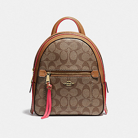 COACH F38998 ANDI BACKPACK IN SIGNATURE CANVAS KHAKI/NEON PINK/LIGHT GOLD