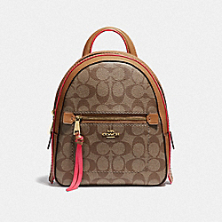 COACH F38998 - ANDI BACKPACK IN SIGNATURE CANVAS KHAKI/NEON PINK/LIGHT GOLD