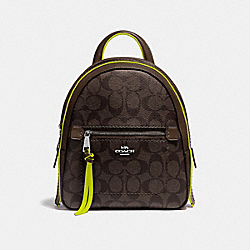 ANDI BACKPACK IN SIGNATURE CANVAS - F38998 - BROWN/NEON YELLOW/SILVER