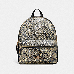 MEDIUM CHARLIE BACKPACK WITH CHAIN PRINT - F39001 - BLACK/LIGHT GOLD