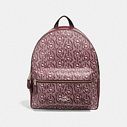 MEDIUM CHARLIE BACKPACK WITH CHAIN PRINT - F39001 - CLARET/LIGHT GOLD