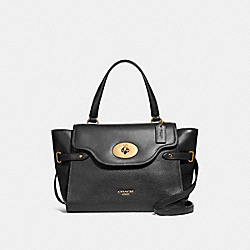 LARGE BLAKE FLAP CARRYALL - F39020 - BLACK/LIGHT GOLD