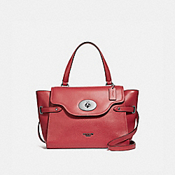 COACH F39020 Large Blake Flap Carryall WASHED RED/SILVER