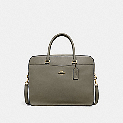 COACH F39022 - LAPTOP BAG MILITARY GREEN/GOLD
