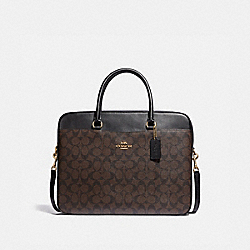COACH F39023 - LAPTOP BAG IN SIGNATURE CANVAS BROWN/BLACK/LIGHT GOLD