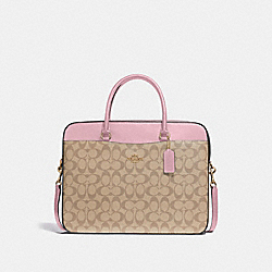 COACH F39023 Laptop Bag In Signature Canvas LIGHT KHAKI/CARNATION/SILVER