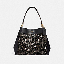 LEXY SHOULDER BAG WITH CHAIN PRINT - F39024 - BLACK/LIGHT GOLD