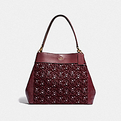LEXY SHOULDER BAG WITH CHAIN PRINT - F39024 - CLARET/LIGHT GOLD