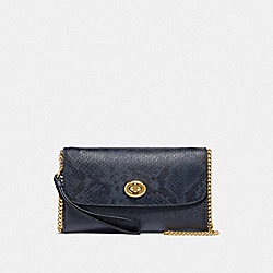 COACH F39026 Chain Crossbody METALLIC DENIM/LIGHT GOLD