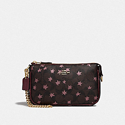COACH F39027 - LARGE WRISTLET 19 IN SIGNATURE CANVAS WITH POP STAR PRINT BROWN MULTI/LIGHT GOLD