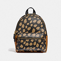 COACH F39030 Mini Charlie Backpack With Deer Spot Print BLACK/LIGHT GOLD