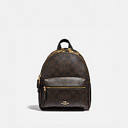MINI CHARLIE BACKPACK IN SIGNATURE CANVAS WITH LEOPARD PRINT - F39034 - BROWN MULTI/LIGHT GOLD