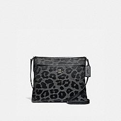 COACH F39036 - FILE CROSSBODY WITH LEOPARD PRINT GREY/SILVER