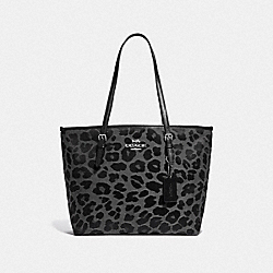 COACH F39037 - ZIP TOP TOTE WITH LEOPARD PRINT GREY/SILVER