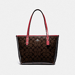 COACH F39039 - MINI CITY ZIP TOTE IN SIGNATURE CANVAS BROWN/RED/SILVER
