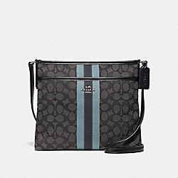 FILE CROSSBODY IN SIGNATURE JACQUARD WITH STRIPE - F39041 - BLACK/MULTI/SILVER