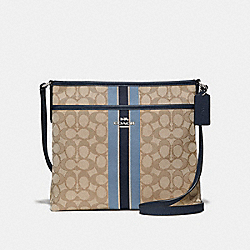COACH F39041 File Crossbody In Signature Jacquard With Stripe KHAKI MULTI /SILVER