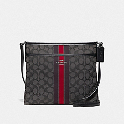 COACH F39041SVREM - FILE CROSSBODY IN SIGNATURE JACQUARD WITH STRIPE SV/RED MULTI