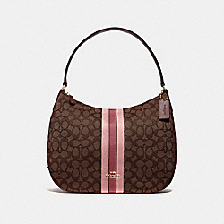 ZIP SHOULDER BAG IN SIGNATURE JACQUARD WITH STRIPE - F39042 - BROWN MULTI/IMITATION GOLD