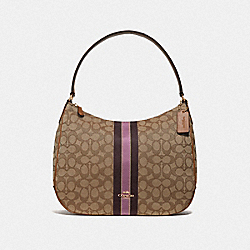 ZIP SHOULDER BAG IN SIGNATURE JACQUARD WITH STRIPE - F39042 - KHAKI MULTI /LIGHT GOLD