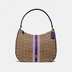 ZIP SHOULDER BAG IN SIGNATURE JACQUARD WITH STRIPE - F39042 - IM/PURPLE MULTI