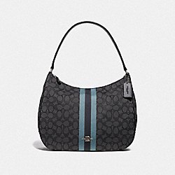 ZIP SHOULDER BAG IN SIGNATURE JACQUARD WITH STRIPE - F39042 - BLACK/MULTI/SILVER