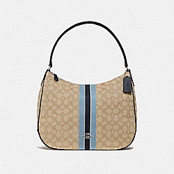ZIP SHOULDER BAG IN SIGNATURE JACQUARD WITH STRIPE - F39042 - KHAKI MULTI /SILVER