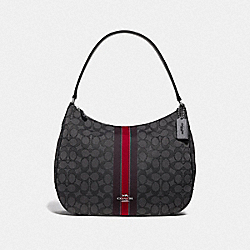 COACH F39042SVREM Zip Shoulder Bag In Signature Jacquard With Stripe SV/RED MULTI