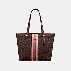 COACH F39043 Zip Top Tote In Signature Jacquard With Stripe BROWN MULTI/IMITATION GOLD