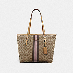 ZIP TOP TOTE IN SIGNATURE JACQUARD WITH STRIPE - F39043 - KHAKI MULTI /LIGHT GOLD