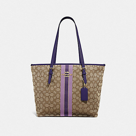 COACH F39043 ZIP TOP TOTE IN SIGNATURE JACQUARD WITH STRIPE IM/PURPLE-MULTI