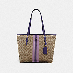 ZIP TOP TOTE IN SIGNATURE JACQUARD WITH STRIPE - F39043 - IM/PURPLE MULTI