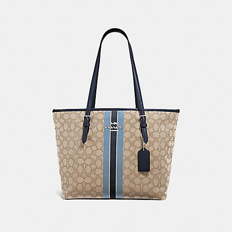 COACH F39043 ZIP TOP TOTE IN SIGNATURE JACQUARD WITH STRIPE KHAKI-MULTI-/SILVER