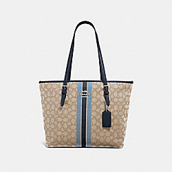 COACH F39043 - ZIP TOP TOTE IN SIGNATURE JACQUARD WITH STRIPE KHAKI MULTI /SILVER
