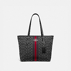 COACH F39043SVREM - ZIP TOP TOTE IN SIGNATURE JACQUARD WITH STRIPE SV/RED MULTI